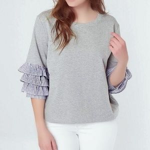 NWOT Miss Me Gray Top w/ Blue Lined Ruffle sleeves